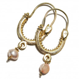 "Konavle earrings ""Pink Pearl"""